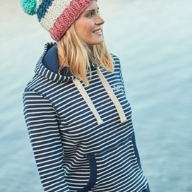 Harlech Stripe Pop Over Hoodie Dark Navy