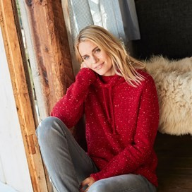 Roskilde Funnel Neck Knitted Fleece Rouge