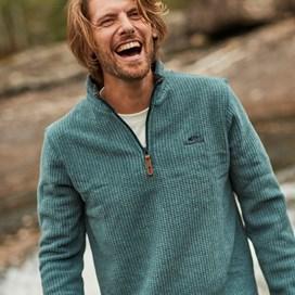 Newark 1/4 Zip Grid Fleece Sweatshirt Evergreen