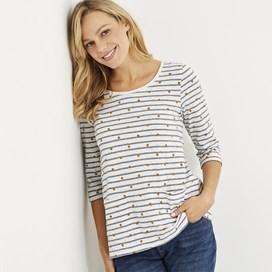 Mina Pinstripe Spot T-Shirt Light Cream
