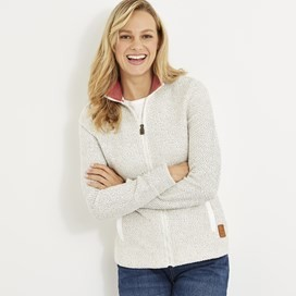 Meg Full Zip Textured Fleece Ecru