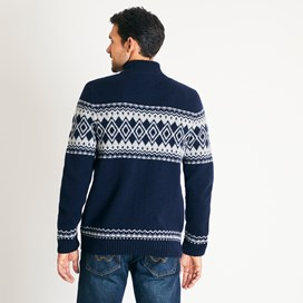 Gallen Lambswool Blend Knitted 1/4 Zip Jumper Dark Navy
