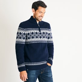 Gallen Lambswool Blend Knitted 1/4 Zip Jumper Dark Navy