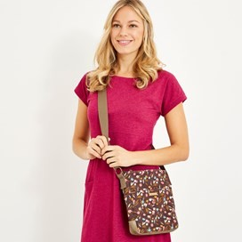 Amira Printed Slub Cross Body Bag Mulled Wine