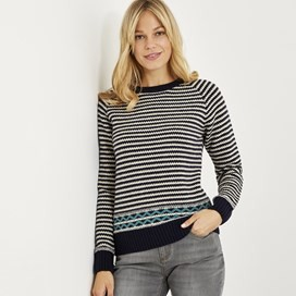 Darla Lambswool Stripe Jumper Dark Navy