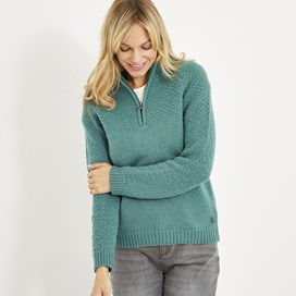 Bennie 1/4 Zip Lambswool Jumper Viridis
