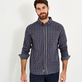 Blakely Long Sleeve Gingham Check Shirt Grey