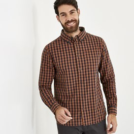 Blakely Long Sleeve Gingham Check Shirt Brick Orange