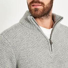 Lyburn Lambswool Blend Knitted 1/4 Zip Jumper Grey Marl