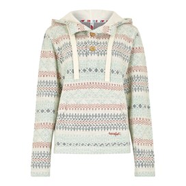 Newgale Button Neck Jacquard Hoodie Chalk