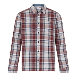 Matanic Long Sleeve Herringbone Check Shirt Oxblood