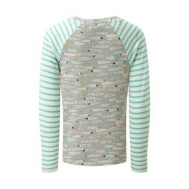 Annie Stripe And Print Tee Pearl Grey