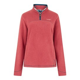 Chrystal 1/4 Zip Stripe Fleece Rhubarb