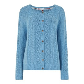 Sara Cable Knit Outfitter Cardigan Scandi Blue