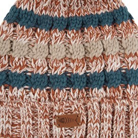 Vito Twisted Yarn Bobble Hat Brick Orange