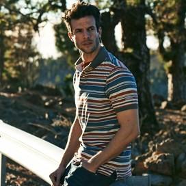 Calama Striped Polo Shirt Brick Red
