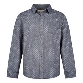 Screeb Long Sleeve Brushed Twill Dobby Shirt Dark Navy