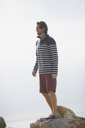 Nairn 1/4 Zip Printed Striped Sweatshirt Dark Navy