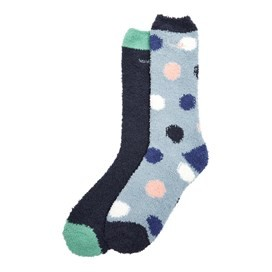 Park Fluffy Socks Twin Pack Dark Navy
