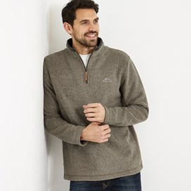 Newark 1/4 Zip Grid Fleece Sweatshirt Bark