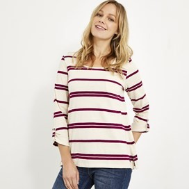 Chrissy Striped Cotton T-Shirt Purple Potion