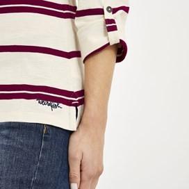 Chrissy Striped Cotton T-Shirt Purple Potion