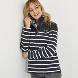 Hansley 1/4 Neck Striped Sweatshirt Dark Navy