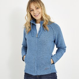 Holly Full Zip Classic Macaroni Sweatshirt Cool Blue