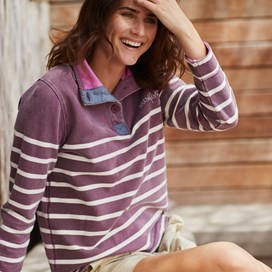 Hansley 1/4 Neck Striped Sweatshirt Purple Potion