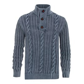 Algarve Cable Knit ¼ Button Jumper Mood Indigo