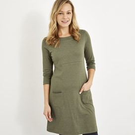 Starburst Jersey Dress Dusky Green Marl