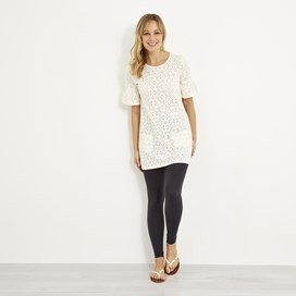 Kenza Embroidered Jersey Tunic Light Cream
