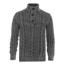 Algarve Cable Knit ¼ Button Jumper Dark Gull Grey