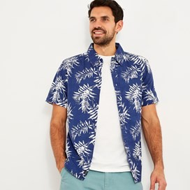 Mayo Hawaiian Short Sleeve Shirt Blue Indigo