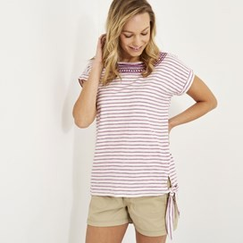Hennie Striped Cotton T-Shirt Purple Orchid