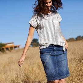Hennie Striped Cotton T-Shirt Dark Navy