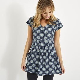 Laurie Printed Jersey Tunic Dark Navy