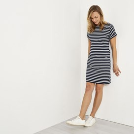 Etta Striped Jersey Dress Dark Navy