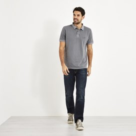 Lenny  Garment Dyed Polo Shirt Pewter