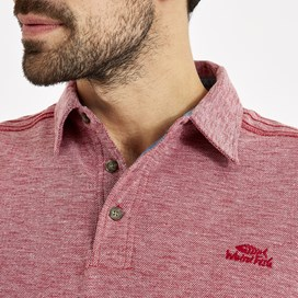 Drift Gridle Slub Polo Retro Red