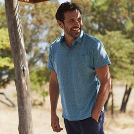 Drift Gridle Slub Polo Harbour Blue