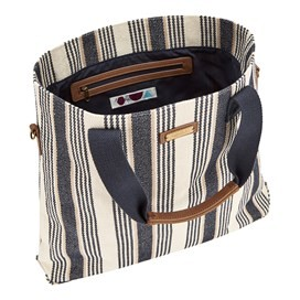 Myer Woven Striped Cross Body Bag Dark Navy