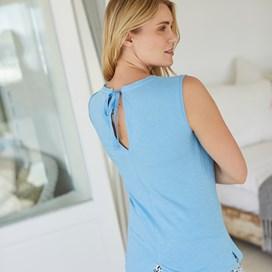 Berti Slub Cotton Vest Cool Blue