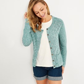 Tomlin Twisted Cotton Cardigan Viridis
