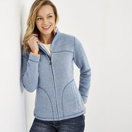 Sienna Full Zip Soft Knit Jacket Cool Blue