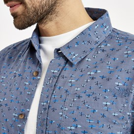 Elm Short Sleeve Patterned Shirt Denim