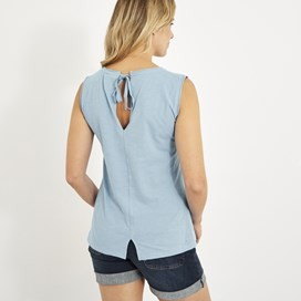 Berti Slub Cotton Vest Cool Blue