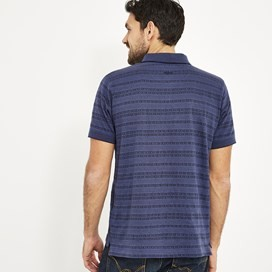 Baskin Jacquard Striped Polo Shirt Dark Navy