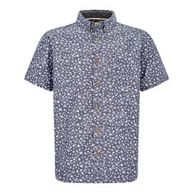 Keel Floral Print Short Sleeve Shirt Denim