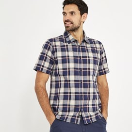 Clane Slub Check Short Sleeve Shirt Blue Indigo